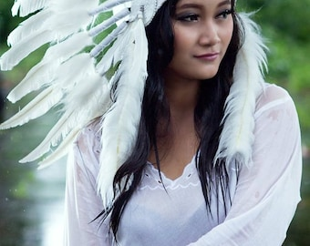 Deluxe Native American indian Style Feather Headdress ~ Halloween Costume ~
