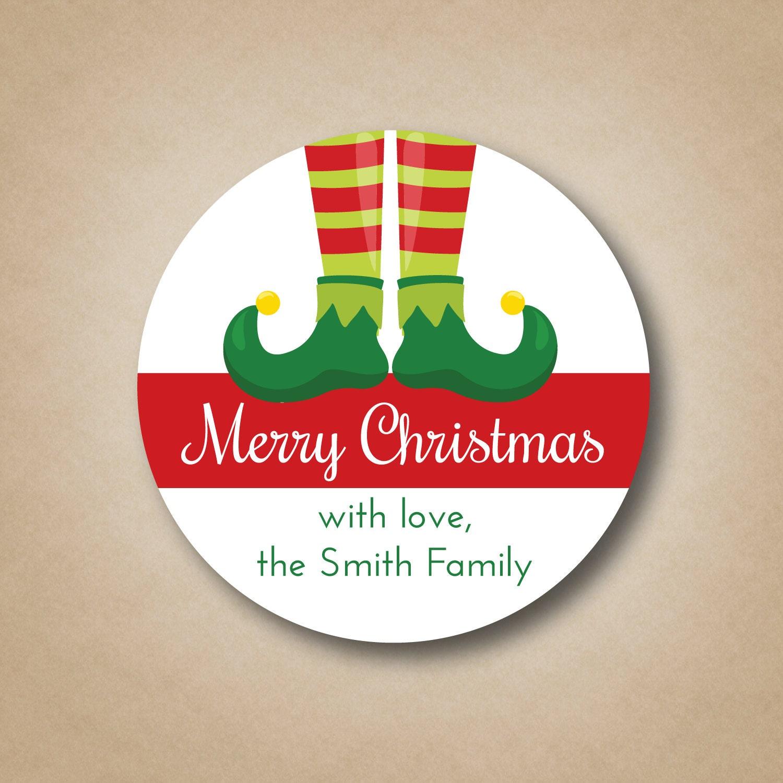 Personalized Christmas Gift Tags: Christmas Gift Tags Elf Feet Christmas Gift Stickers Custom