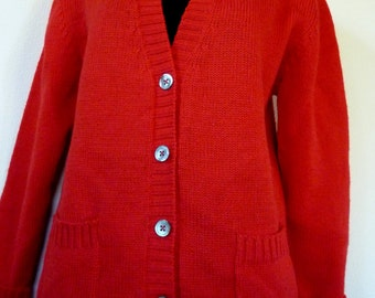 Vintage Red Wool Perry Como or Golf Cardigan Sweater Scarce Classic Retro Alcott and Andrews