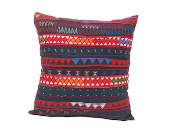Dark Green Cushion Cover Pillow Case With Hill Tribe Fabric Handmade (CC03-GR)