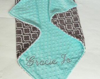 Personalized Minky Baby Blanket or Lovey -  Baby Girl or Boy Stroller blanket - Custom Made - You Choose Minky Color - Trellis in Charcoal
