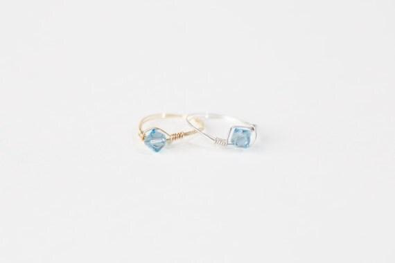 March Birthstone Ring - Swarovski Crystal Birthstone Ring - March Birthstone Crystal Bead Ring - Silver Birthstone Ring-Gold Birthstone Ring