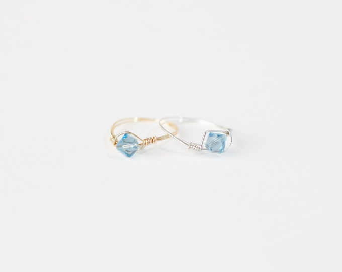 March Swarovski Crystal Birthstone Ring