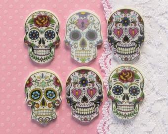 6 Pcs Tattoo Style Sugar Skull Cabochons - 30x20mm