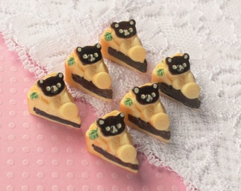 6 Pcs 3D Bear Chocolate Banana Pie Cabochons - 18x13mm