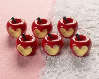 6 Pcs 3D Bitten Apple Cabochons - 15x15mm