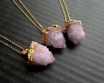 Spirit Quartz Necklace Cactus Quartz Necklace Amethyst Druzy Necklace Amethyst Pendant Amethyst Jewelry Gold Dipped Spirit Quartz Pendant