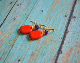 Red Earrings,Czech Glass Earrings,Holiday Red Earrings,Christmas Earrings,Gift For Her,Gift Under 10 Dollar
