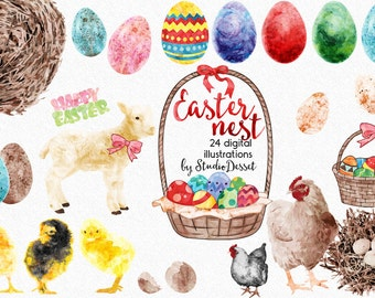 Watercolor Easter Cliparts, Easter Eggs Graphics, Lamb, Chicken, Watercolour Easter, Easter Basket Graphics for Personal and Commercial Use