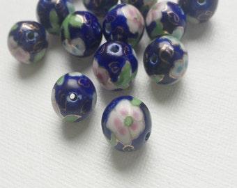 Vintage Cloisonne Pink Rose Blue Glass Asian Bead - PA1029