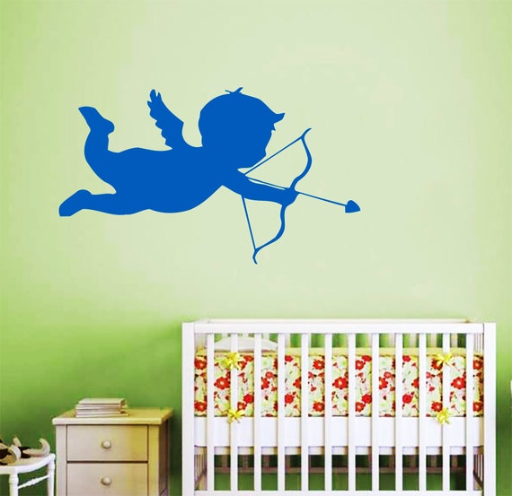 Wall decals for nursery cupid angel decal vinyl sticker home for Angel wall mural