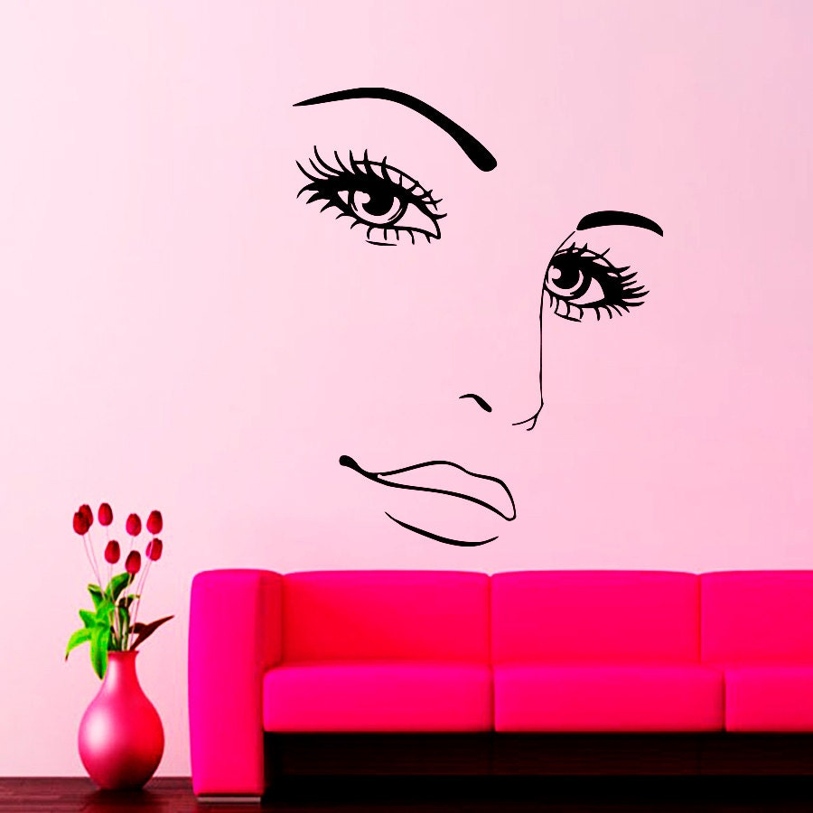 wall decals for beauty salon hairdressing face decal vinyl. Black Bedroom Furniture Sets. Home Design Ideas