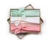 White Mint Pink Organic Cotton Knotted Headband/ Baby Headband/ Toddler Headband/ Jersey Knit Pink White Headband/ Set of Three