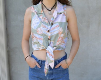 Vintage Cropped Tie-Front seashell top