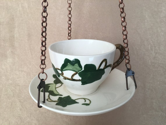 Bird Feeder, Hanging Bird feeder, Teacup Bird Feeder, Metlox Ivy, Handcrafted Vintage, Upcycled Bird feeder, Bird Lover, Housewarming Gift