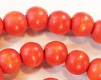100 pieces Tomato red non-toxic wooden bead 8 mm