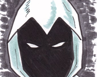 """Moon Knight 2 1/2"""" x 3 1/2"""" artist trading card ACEO"""