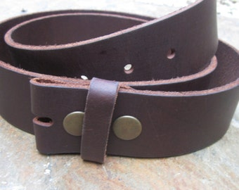 "Vintage Italian FULL GRAIN LEATHER brown snap belt strap Medium Large and X- Large available 1.5"" soft leather belt strap for belt buckles"