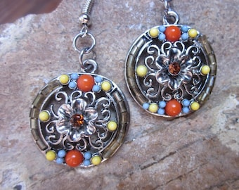 bohemian earrings boho earrings Orange, yellow  turquoise stone bohemian southwestern earrings country chic earrings dangle drop earrings