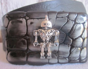 mens belt buckle Silver 3-D Robot Belt Buckle Lavish Lucy Designs gunmetal buckle basic silver belt buckle  embellished belt buckle