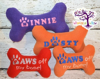 DOG Bone Personalized Custom Embroidered Squeaky Chew Toy
