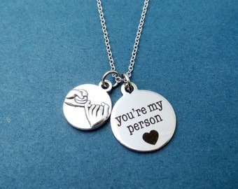 Pinky promise, You're my person, Silver, Necklace, Birthday, Best friends, Lovers, Valentine, Gift, Jewelry