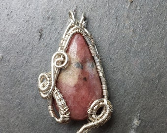 Sterling Silver, Wire Weave, Rhodonite Pendant