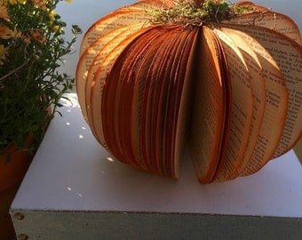 Vintage Upcycled Book Pumpkin Fall Halloween book page sculpture Thanksgiving Decor Autumn Decoration home decor shelf decoration
