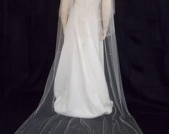 1 Tier Sparkling Victorian Wedding Veil Swarovski Crystals Cathedral Length