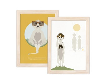 Set of 2 art prints - Meerkat | children - nursery | A4 - 8.27 x 11.69 inches