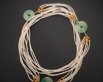 Green Jade and freashwater pearl necklace with gold vermeil beads