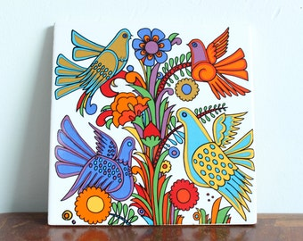 German Acapulco Bird Tile Trivet