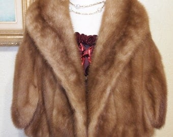 like new...elegant AUTUMN HAZE EMBA natural brown mink coat cape stole with large stand up collar sz 10-12..m15