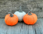 Knit Pumpkins - Halloween decorations - Set of 3 -Hand knitted toy - Handmade toy -Pumpkin decor - Helloween decor