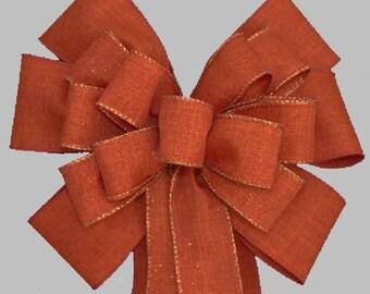 Burnt Orange Fall Wedding Pew Bows Church Aisle Decorations Wreath Bows