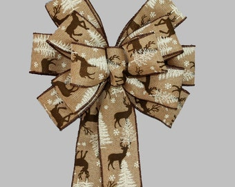 Deer Burlap Rustic Christmas Bow - Mantel Bow, Garland Bow, Christmas Tree Topper Bow, Burlap Christmas, Country Christmas Bow