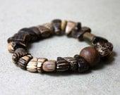 Neutral Bracelet, Earth Tone Accessory, Wood Jewelry, Animal Bone Beads, Beaded Stretch Bracelet, Brown Bracelet, Striped Wood