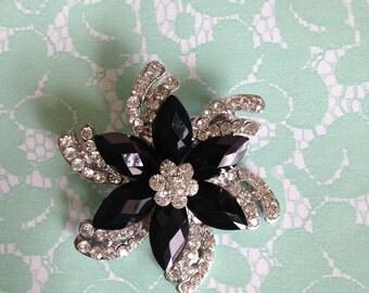 Rhinestone brooch pin,black brooch,wedding accessories,bridal accessories,bridesmaids,crystal brooch,sash brooch,bridal brooch,silver brooch