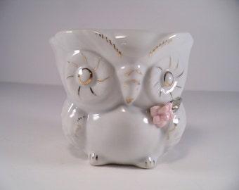 Vintage Owl Planter, Retro Owl Vase