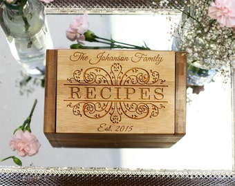 Recipe Box, Family Recipe Box Custom Recipe Holder Gift for the Cook --6812