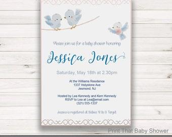 Baby Shower Invitation - Little Bird Baby Shower - Printable Invitation - Baby Shower Invites - Little Bird Invitation - Little Bird