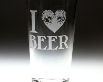 I heart Beer engraved glass , beer gift , dad gift , brother gift , christmas gift , friend gift , artichoke