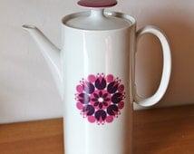 Thomas Rosenthal of Germany Coffee pot 1970 Great Pink purple pinwheel pattern