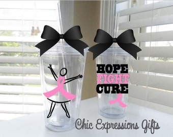 Hope-Fight-Cure - Breast Cancer Awareness tumbler