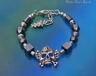 Halloween Skull Bracelet, Hematite Stone Bracelet, Black Halloween Bracelet, Skull with Bones Bracelet, Black Bracelet, Halloween Jewelry