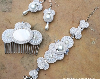 pearl and crystal bridal vintage off white statement soutache hair comb headpiece hair jewelry hair pin