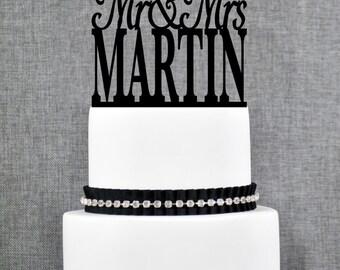 Modern Last Name Wedding Cake Toppers, Trendy Minimalist Wedding Cake Topper, Elegant Custom Mr and Mrs Topper Engagement Gift - (T016)