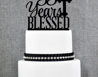 55 Years Blessed Cake Topper, Classy 55th Birthday Cake Topper, 50th Anniversary Cake Topper- (T247-55)