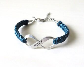 Teal Awareness HOPE Charm Bracelet Ovarian Cancer Tourettes Syndrome Ocd Anxiety Awareness Ptsd Sexual Assault Scleroderma POSD Hernia