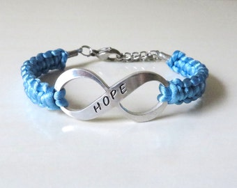 Prostate Cancer HOPE Hand Stamped Awareness Charm Bracelet YOUR Choice of Charm(s)